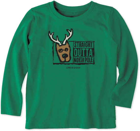Toddlers Straight Outta North Pole Toddler Long Sleeve Crusher Tee