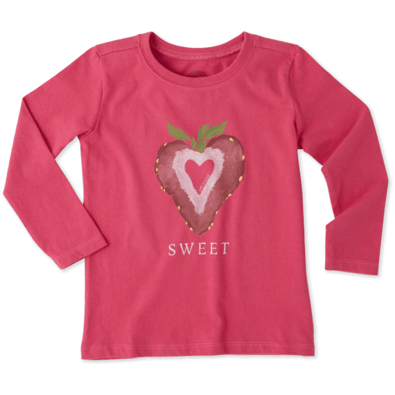 Toddlers Sweet Strawberry Long Sleeve Crusher Tee