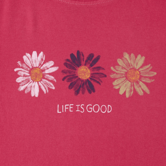 Toddlers Three Daisies Painted Crusher Tee