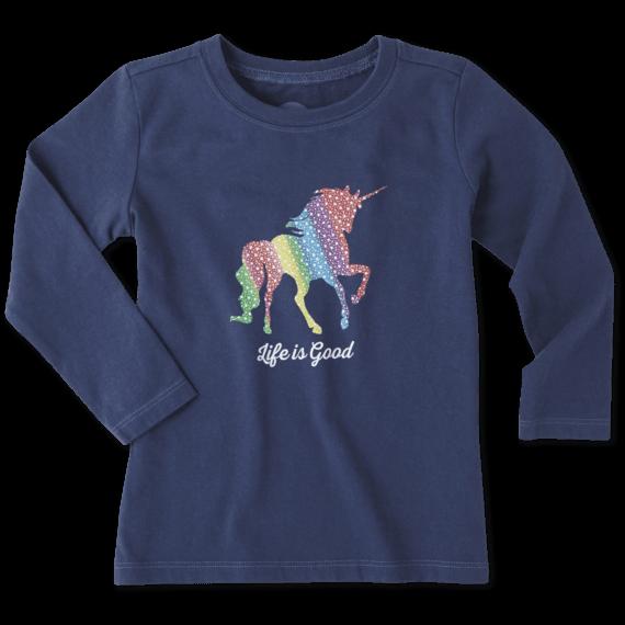 Toddlers Unicorn Long Sleeve Crusher Tee