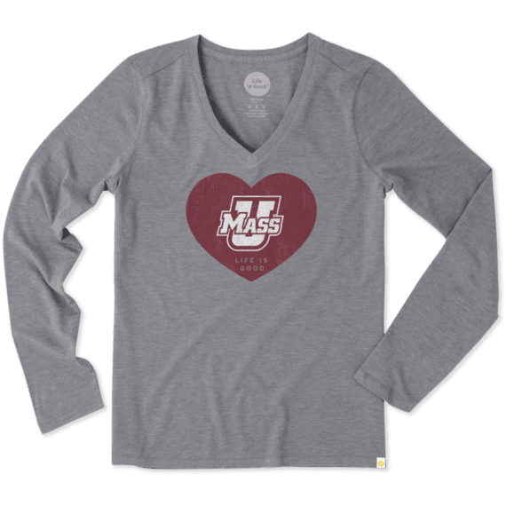 Women's UMass Life is Good Heart Long Sleeve Cool Vee