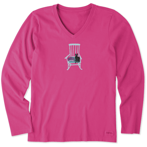 Women's A Good Read Long Sleeve Crusher Vee