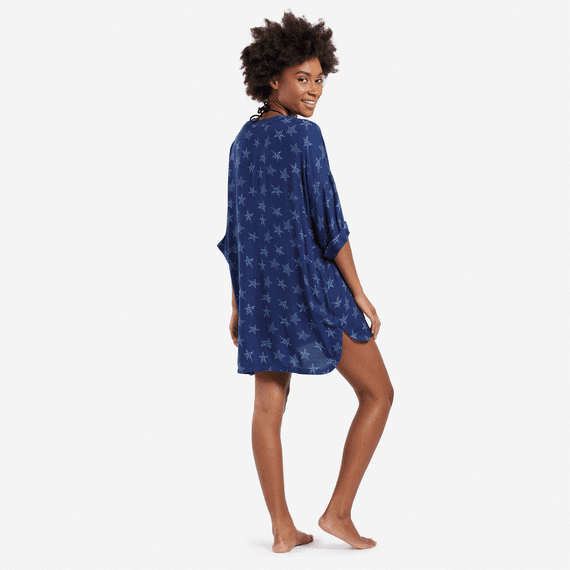 Women's All Over Stars Beach Cover-Up Vee