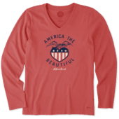Women's America The Beautiful Long Sleeve Crusher Vee