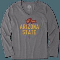 Women's Arizona State Pennant Long Sleeve Cool Vee