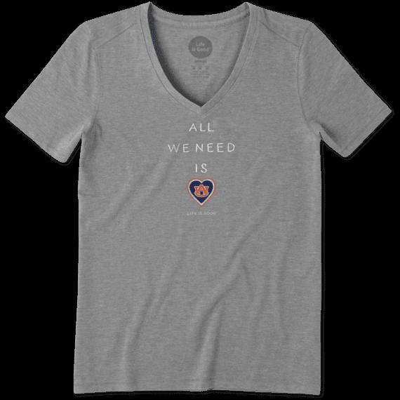 Women's Auburn Tigers All We Need Heart Cool Vee