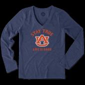 Women's Auburn Tigers Stay True Long Sleeve Cool Vee