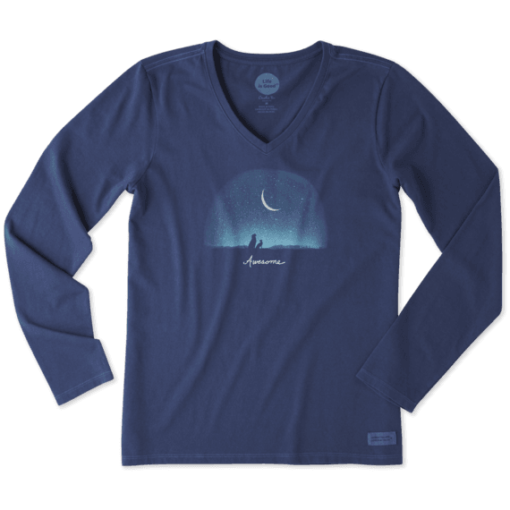 Women's Awesome Night Long Sleeve Crusher Vee