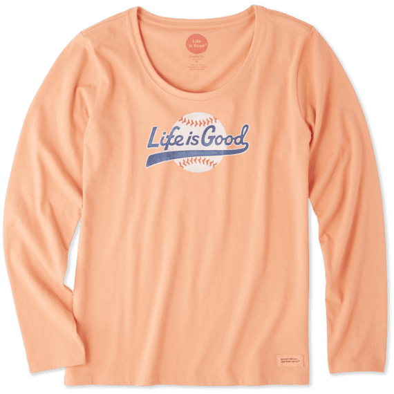 Women's Baseball Script Long Sleeve Crusher Scoop