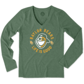 Women's Baylor Face Paint Jake Long Sleeve Vee