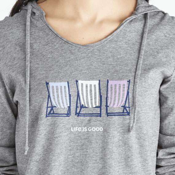 Women's Beach Chair Stripe Long Sleeve Hooded Smooth Tee