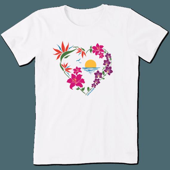Women's Beach Flowers Crusher Tee