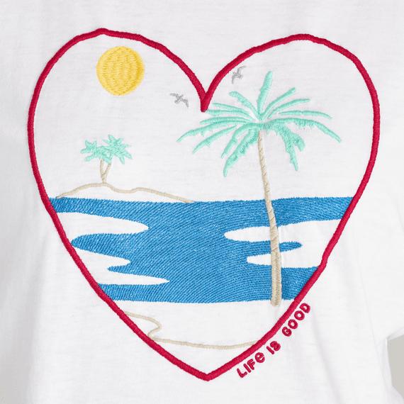 Women's Beach Scene Embroidered Crusher Tee