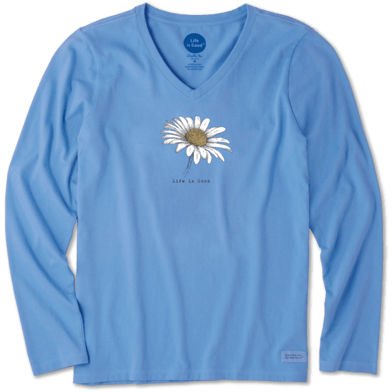 Women's Beautiful Daisy Long Sleeve Crusher Vee