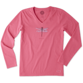Women's Beautiful Dragonfly Long Sleeve Crusher Vee