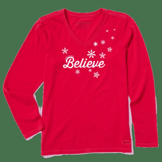 Women's Believe Long Sleeve Crusher Vee