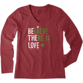 Women's Believe There is Love Long Sleeve Crusher Vee