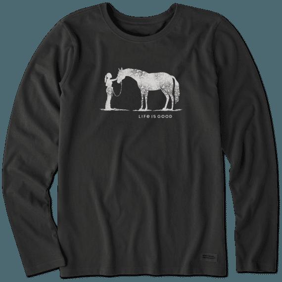 Women's Besties Horse Long Sleeve Crusher Tee