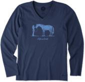 Women's Besties Horse Long Sleeve Crusher Vee