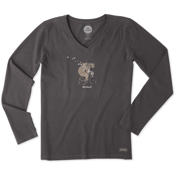 Women's Bike Bear Long Sleeve Crusher Vee