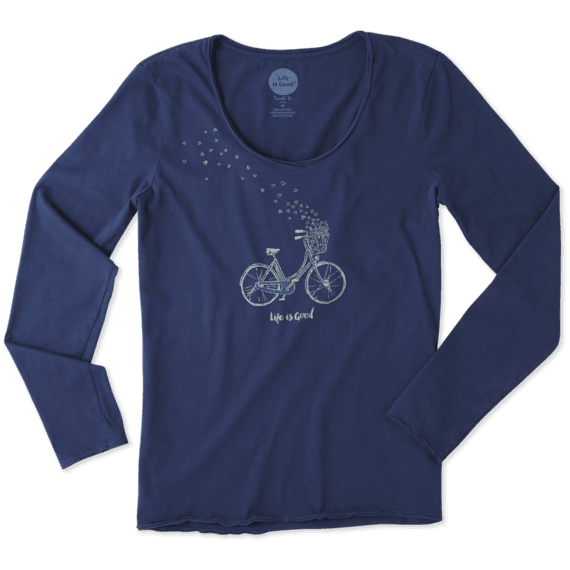 Women's Bike Heart Basket Long Sleeve Smooth Tee