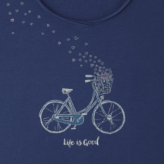 Women's Bike Heart Basket Long Sleeve Smooth Tee