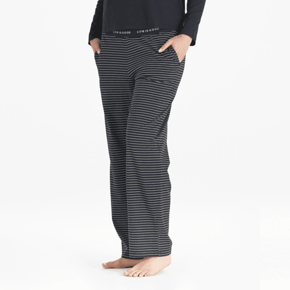 Women's Black White Stripe Snuggle Up Sleep Pant
