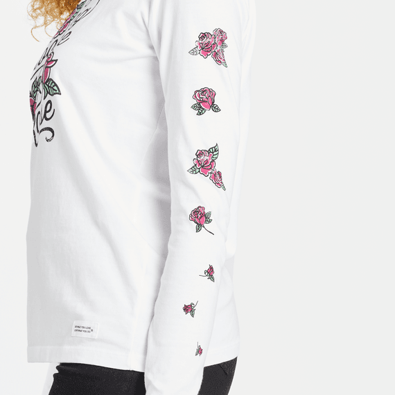 Women's Blooming Like A Red Rose Long Sleeve Crusher Tee
