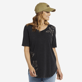 Women's Blooming Pansies Embroidery Freestyle Wash V-neck Tunic