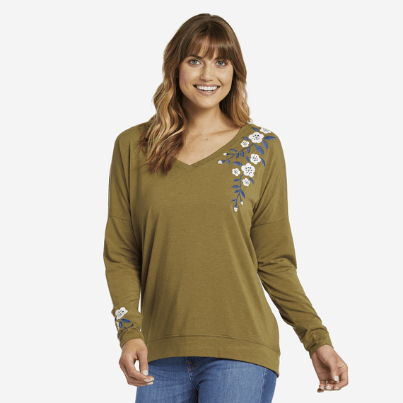 Women's Blooming Pansy Supreme Blend Wide Vee Pullover