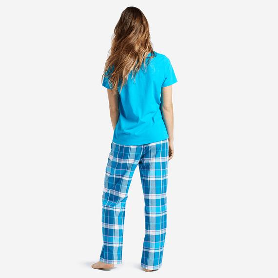 Women's Blue Plaid Classic Sleep Pants