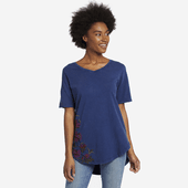 Women's Bouquet Embroidery Freestyle Wash V-neck Tunic