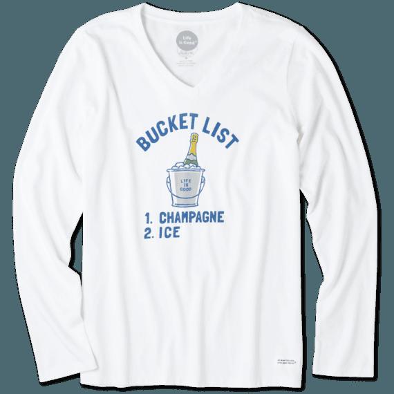 Women's Bucket List Champagne Long Sleeve Crusher Vee