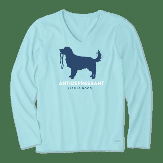 Women's Canine Antidepressant Long Sleeve Crusher Vee