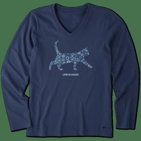 Women's Cat Mosaic Long Sleeve Crusher Vee