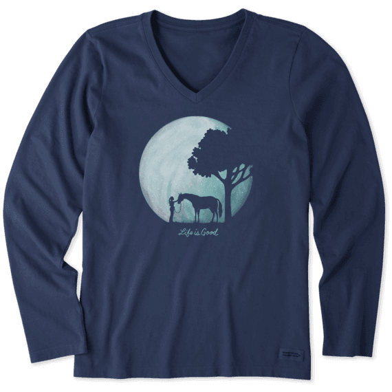 Women's Celestial Horse Long Sleeve Crusher Vee