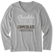 Women's Chocolate Questions Long Sleeve Crusher Vee