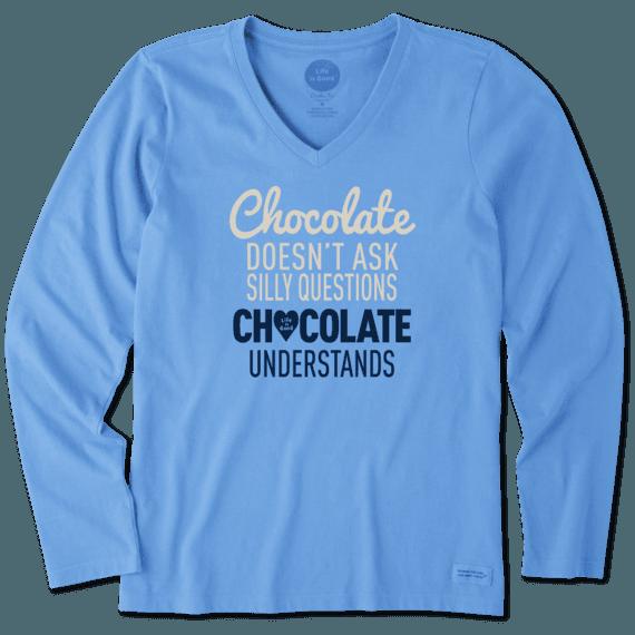 Women's Chocolate Understands Long Sleeve Crusher Vee
