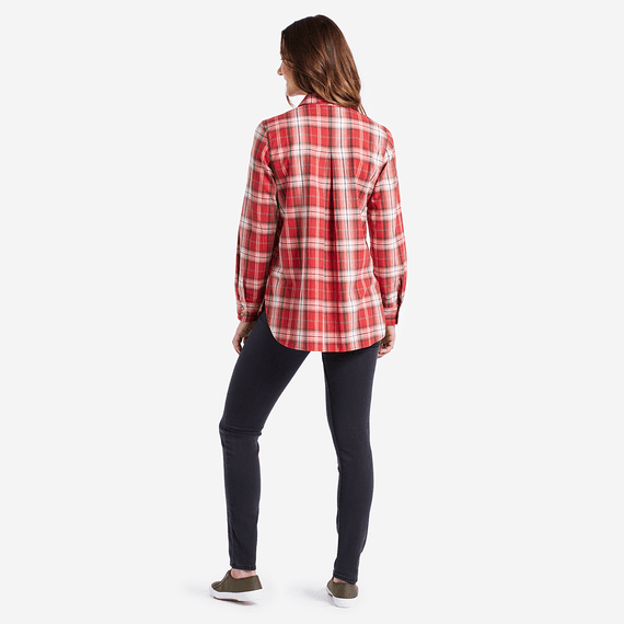 Women's Clay Red Down Home Plaid Shirt
