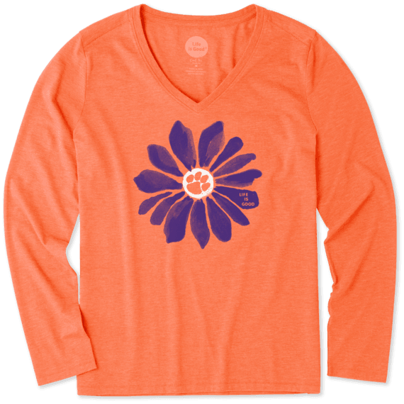 College Women s Clemson Tigers Daisy Long Sleeve Cool Vee  c7bf43810