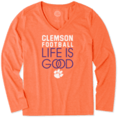 Women's Clemson Tigers Infinity Football Long Sleeve Cool Vee