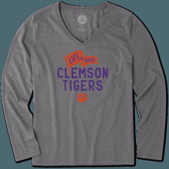 Women's Clemson Tigers Pennant Long Sleeve Cool Vee