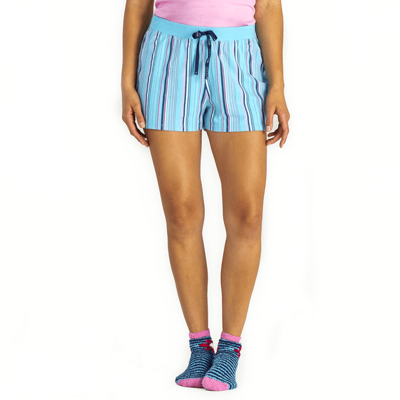 Women's Coastal Blue Stripe Sleep Short