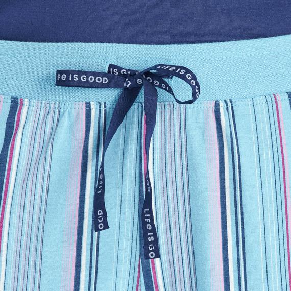 Women's Coastal Blue Stripe Snuggle Up Sleep Pant