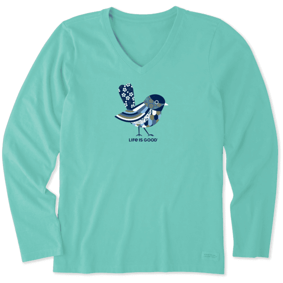 Women's Colorful Bird Long Sleeve Crusher Vee