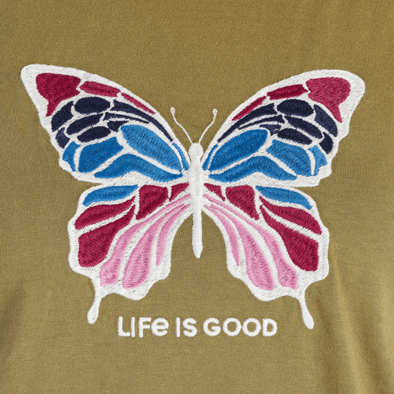 Women's Colorful Butterfly Embroidered Crusher Tee
