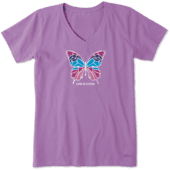 Women's Colorful Butterfly Crusher Vee