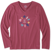 Women's Colorful Leaves Long Sleeve Crusher Vee