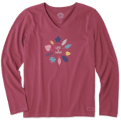 Women's Colorful Leaves Long Sleeve Crusher Vee
