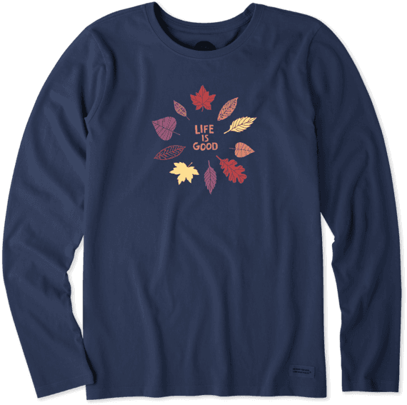 Women's Colorful Leaves Long Sleeve Crusher Tee